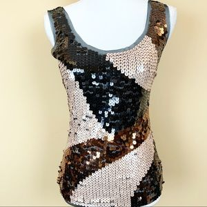 Cache sequined mesh sleeveless tank cocktail top